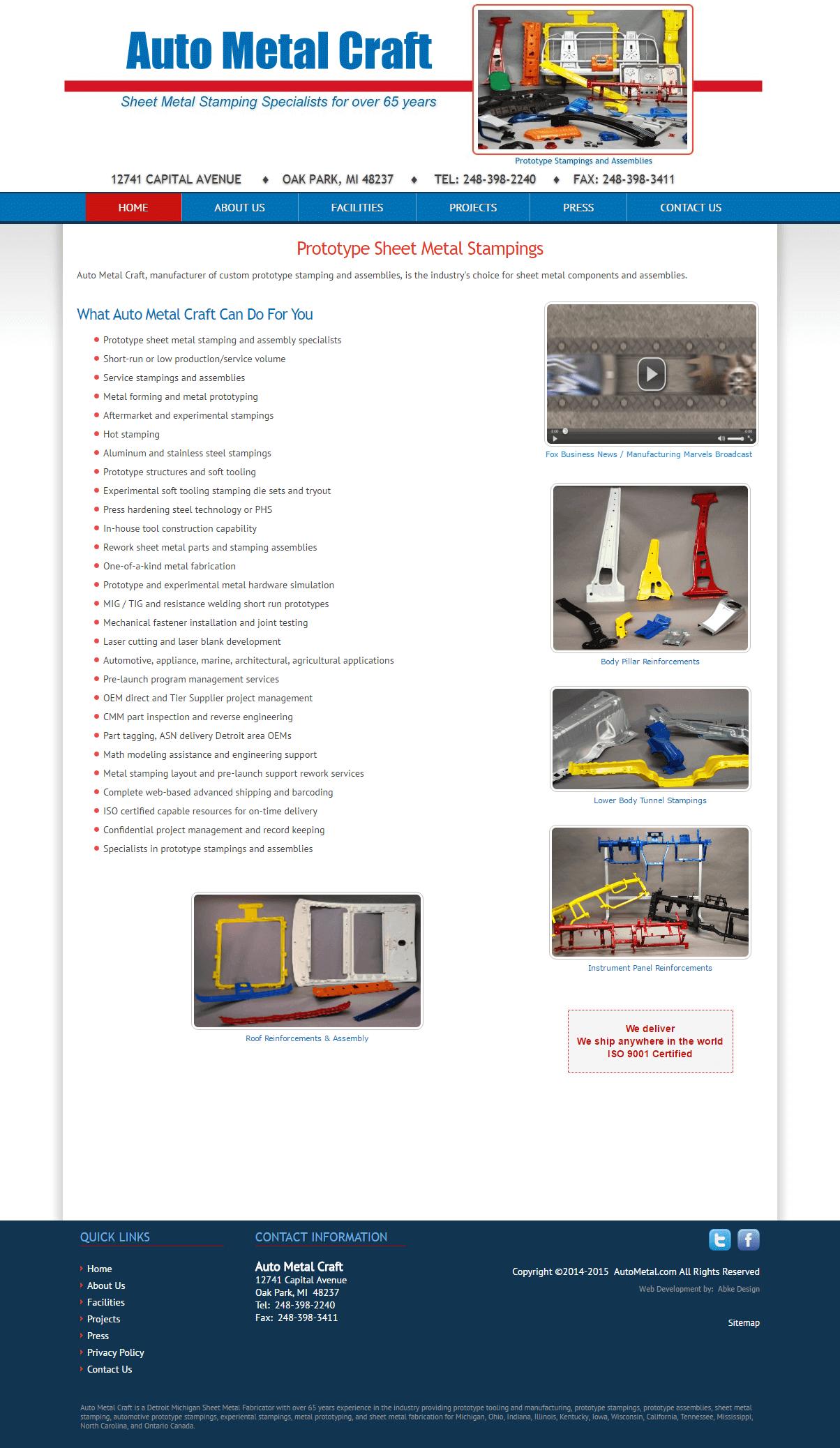 Auto Metal Craft - Website Design & Development by Abke Design