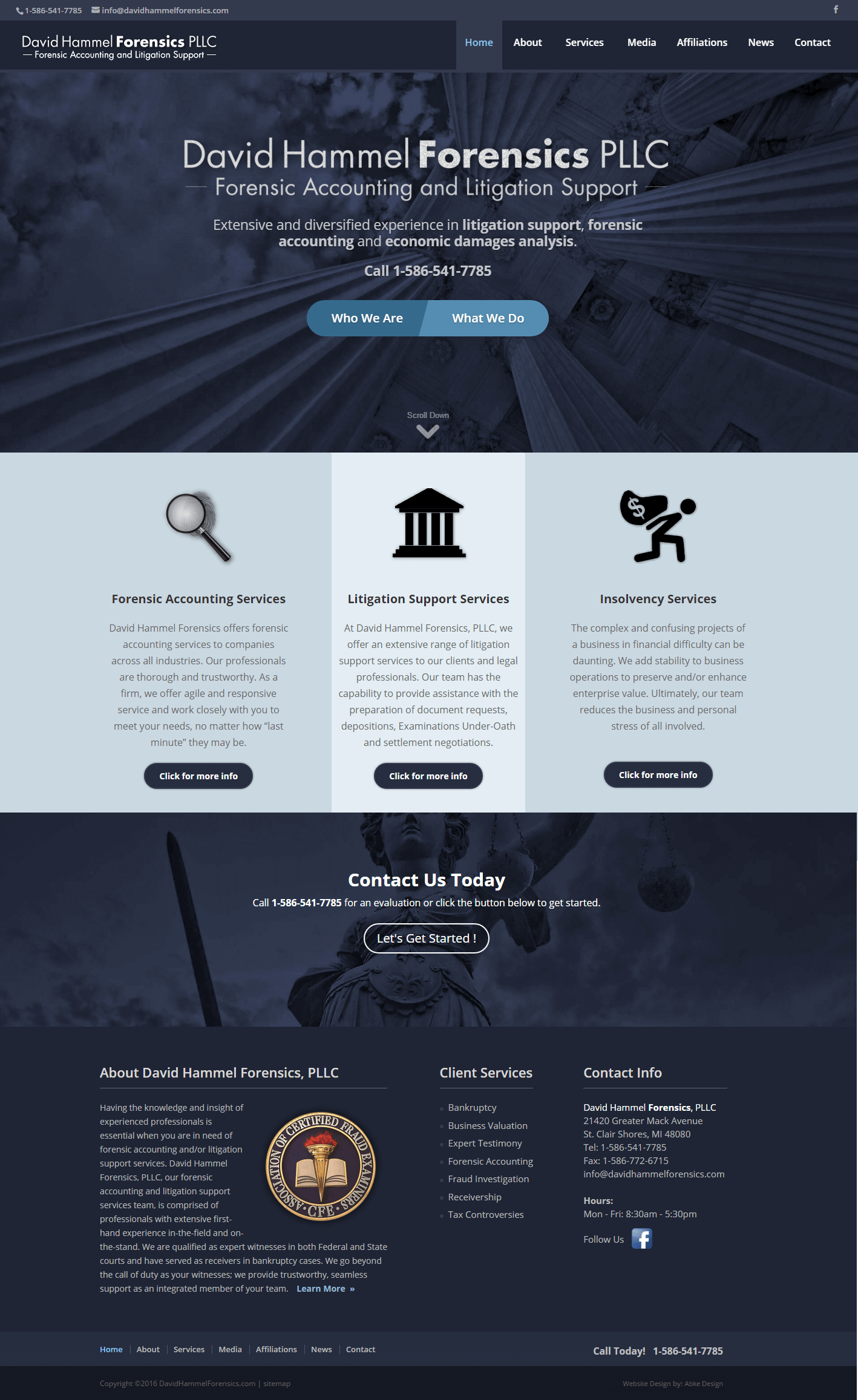 David Hammel Forensics - Website Design & Development by Abke Design