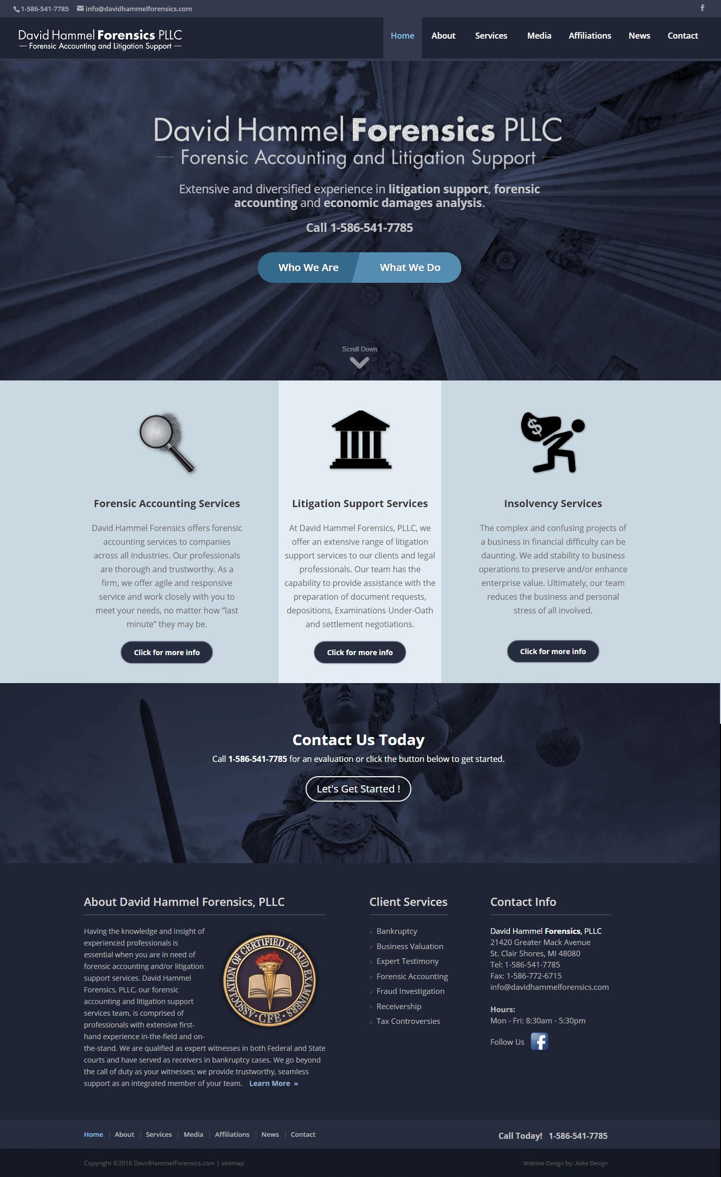 David Hammel Forensics - Website Design & Development by Abke Design