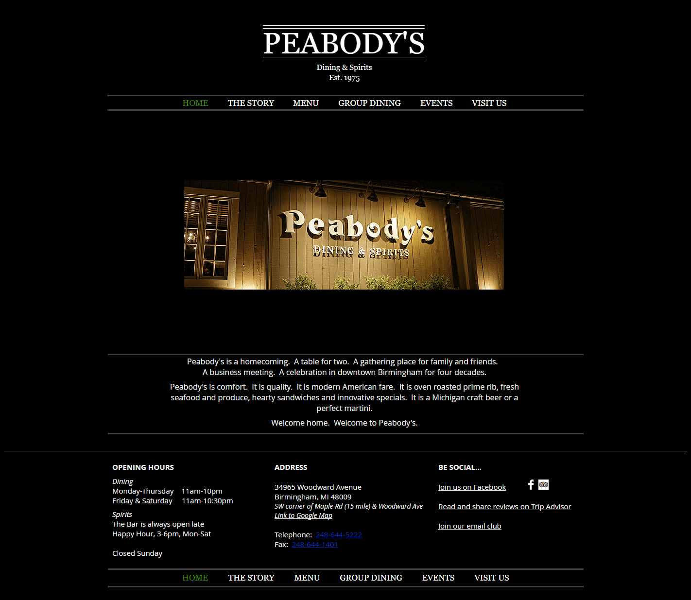 Peabodys Restaurant - Website Design & Development by Abke Design