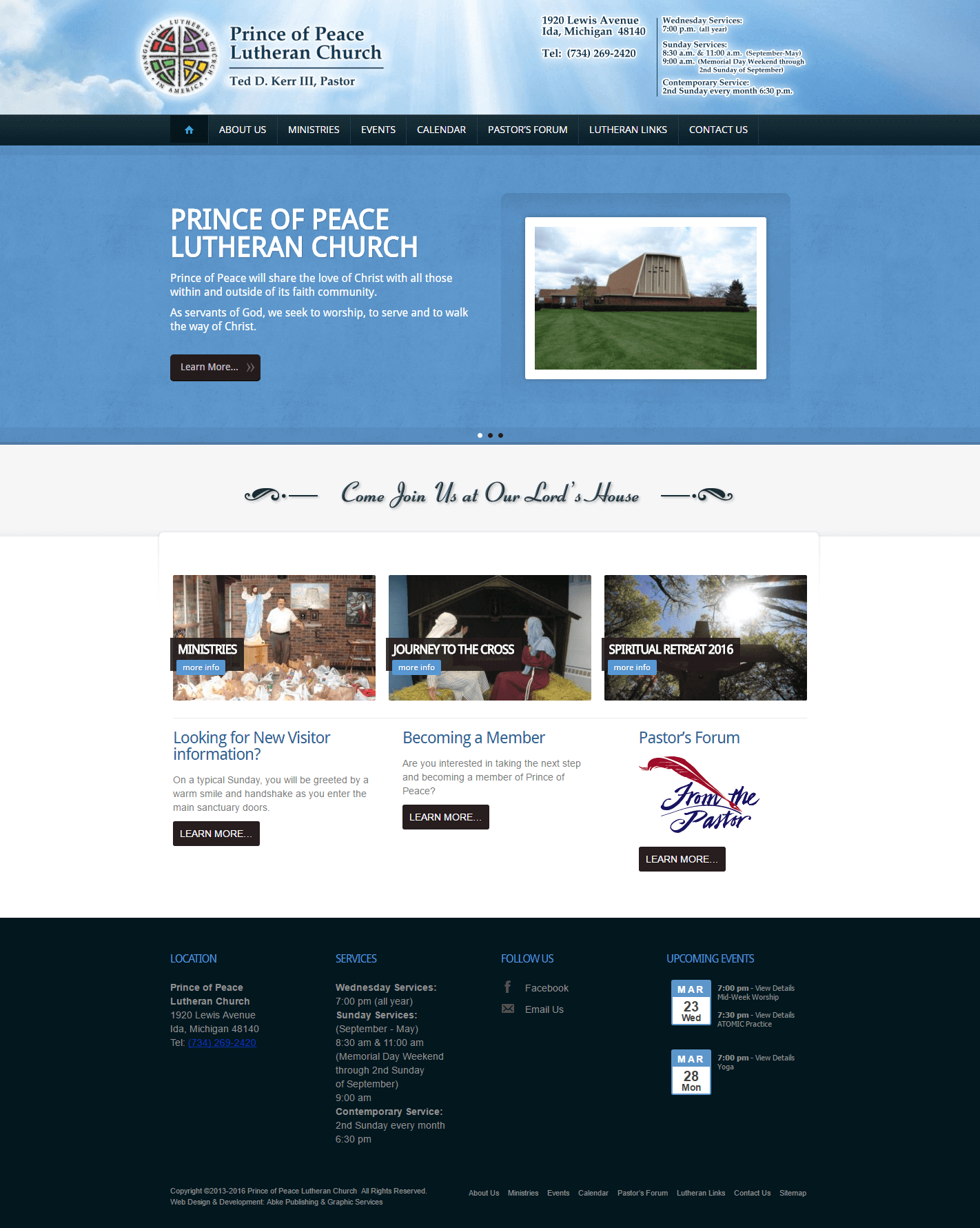 Prince of Peace Ida - Website Design & Development by Abke Design